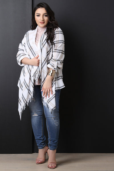 Textured Plaid Long Sleeve Cardigan