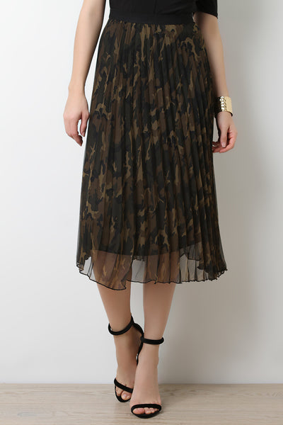 Semi Sheer Camouflage Skirt