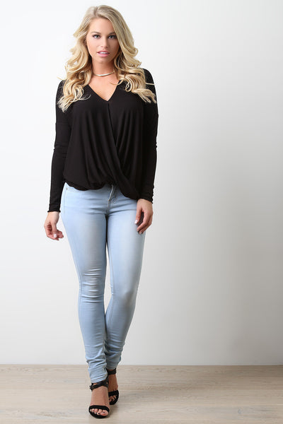 Textured Crisscross Drape High-Low Top