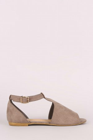 Suede Open Side Cutout Sandal