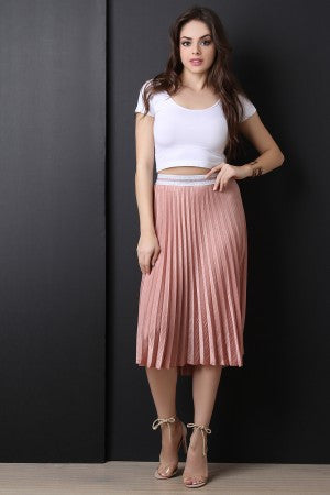Silk & Solid Color Pleated Skirt
