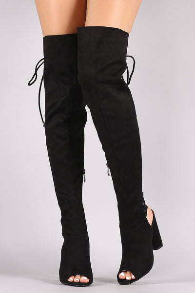 Suede Back Lace Up Chunky Heeled Over-The-Knee Boots