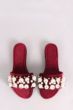 Velvet with Banded Faux Pearls Slide