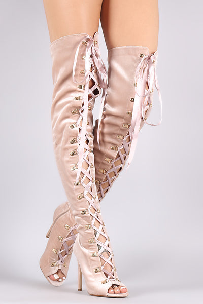 Velvet Ribbon Lace-Up Stiletto Over-The-Knee Boots
