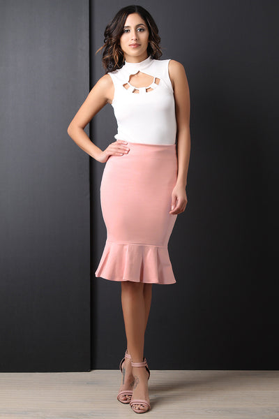 Peplum Bottom Pencil Skirt