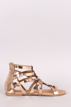 Qupid Metallic O-Ring Strappy Gladiator Flat Sandal