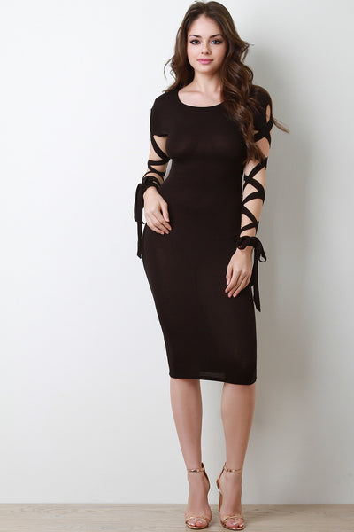 Strappy Sleeves Trendy Bodycon Dress