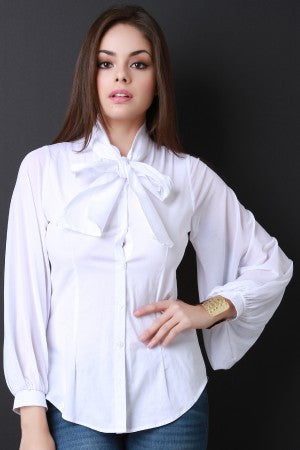 Oversized Bow Tie Semi Sheer Blouse