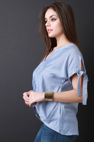 Tie Sleeves with Twisted Front Top