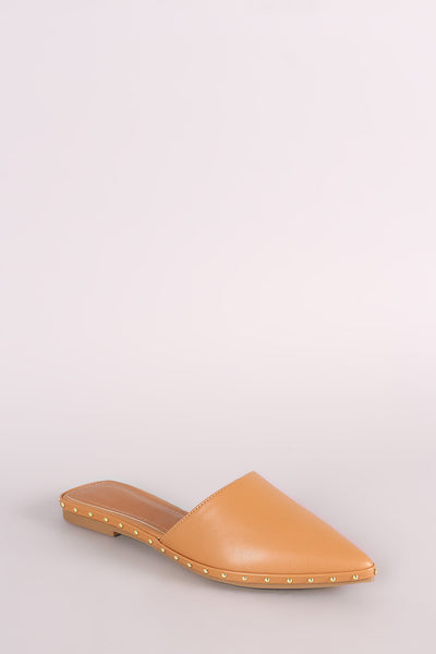 Shoe Republic LA Studded Pointy Toe Mule Loafer Flat