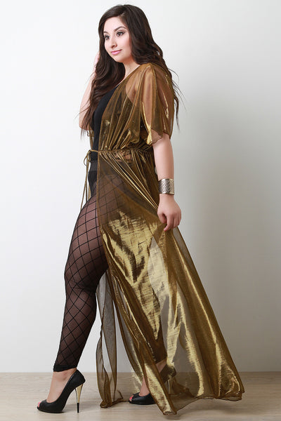 Semi-Sheer Metallic Floor Swept Cover Up Dress