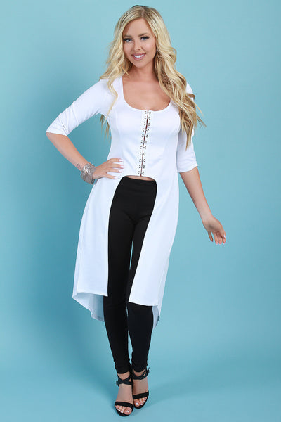 Trendy Clasp High-Low Maxi Top