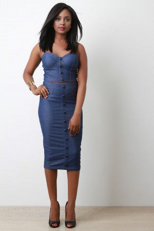 Trendy Button Denim Pencil Skirt