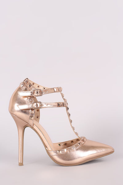 T-Strap Metallic With Studs Heel