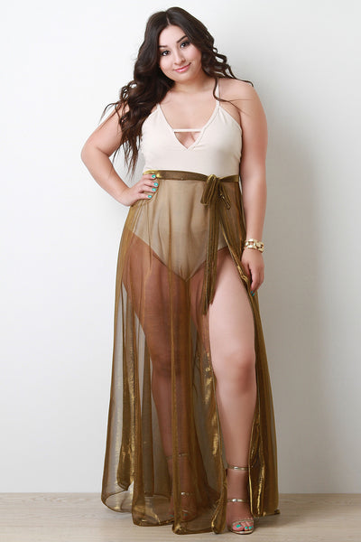 Semi-Sheer Metallic Cover-Up Skirt (Beach Skirt)