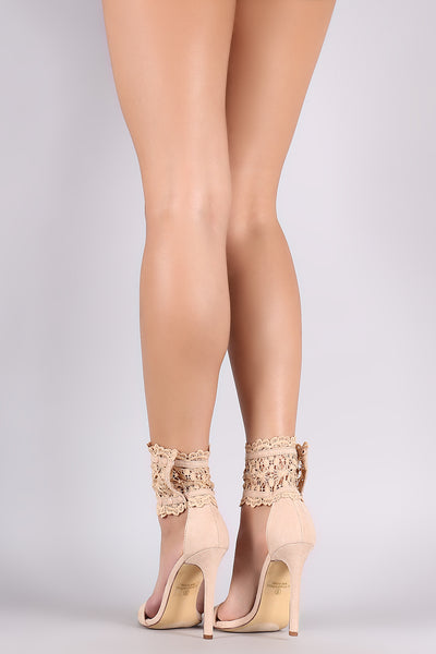Satin Open Toe With Cuff Ankle Cuff Stiletto