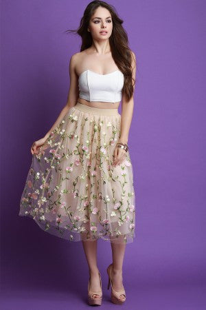 Semi-Sheer With Floral Embroidery Skirt