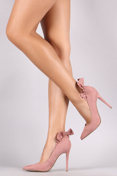 Suede Ruffle Back Stiletto