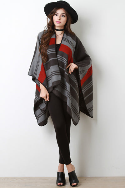Striped Open Front Poncho Cardigan