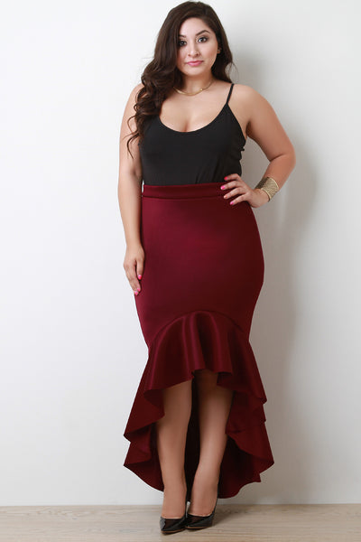 Scuba Knit High Low Ruffled Maxi Skirt