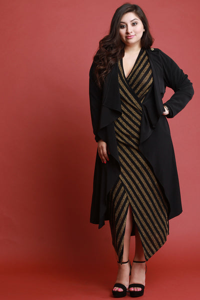 Self-Tie Long Sleeve Maxi Cardigan