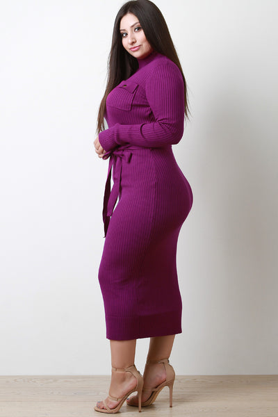 PS Trendy Ribbed Belted Sweater Dress