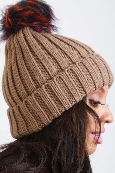 Thick Knit Beanie With Faux Fur Pom