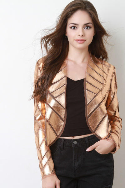 Solid Gold Metallic Geo Blazer Jacket