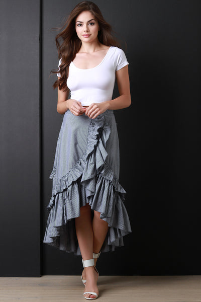 Trimmed Tier Ruffle High Low Skirt