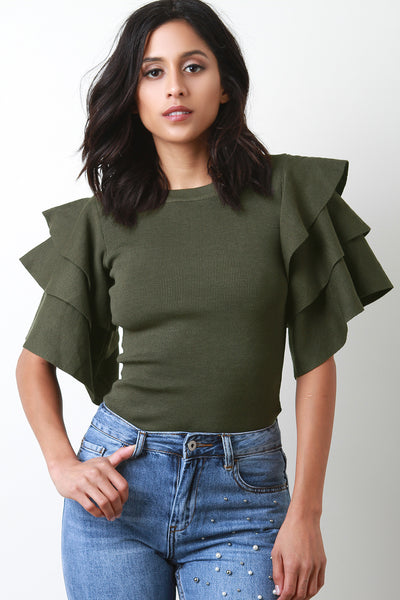 Ruffle Layered Sleeve Sweater