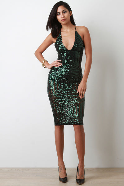 Stunning Sequin Back Tie Midi Dress