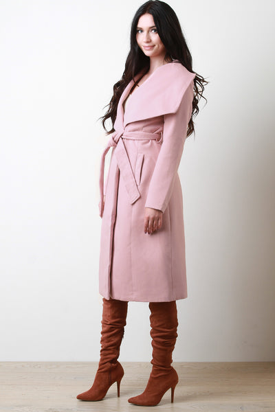Oversized Flap Collar Knit Coat
