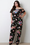 Tropical Floral Cold Shoulder Crochet Jumpsuit