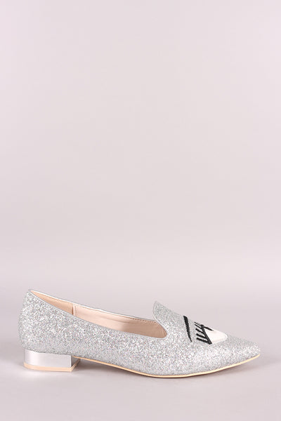 Glitter Encrusted Embroidered Pointy Toe Loafer Flat