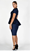 Sophisticated Denim Peplum Dress (Pre-Order)  Available 12/6