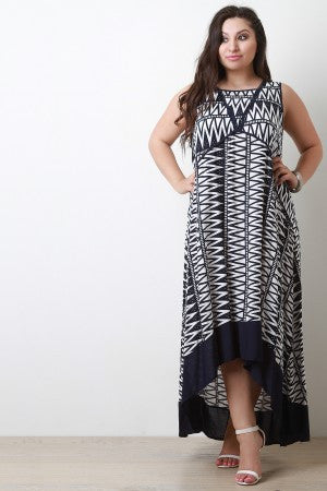 Print Crochet Sleeveless Maxi Dress