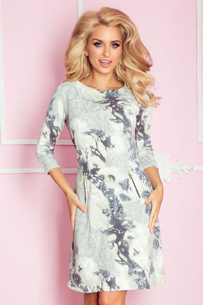 PRINT DAY DRESS WITH SIDE POCKETS