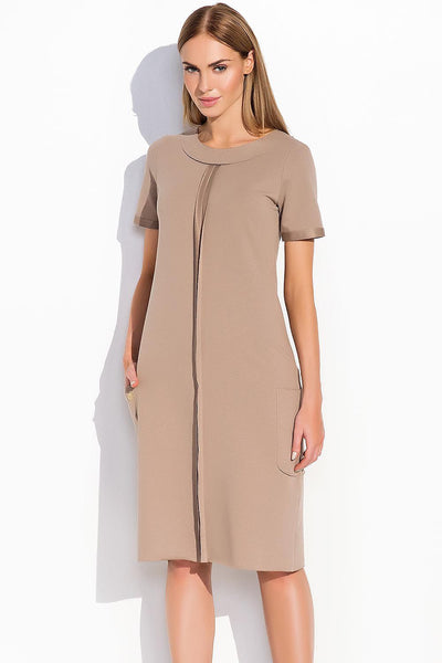 ROUND COLLAR WITH PLEAT FRONT DRESS