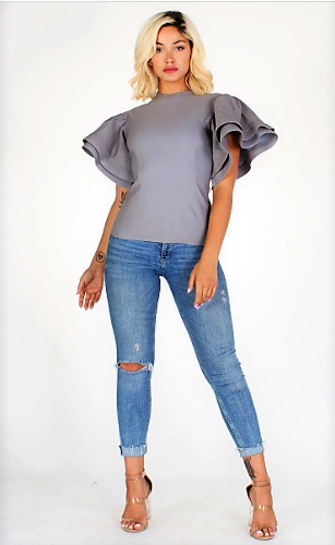 The Dynamic Denim Flare Top