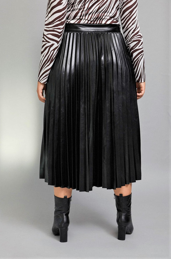 The Appealing Accordion Vegan Leather Skirt