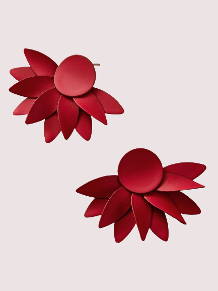 Red Fearless Flower Earrings