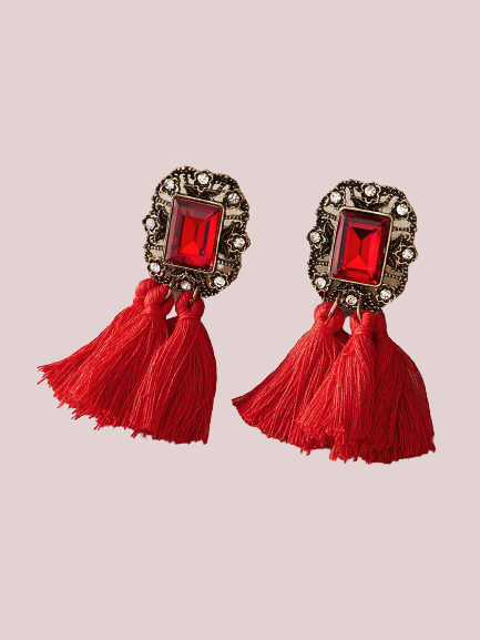 Lady In Red Gems & Tassel Earrings