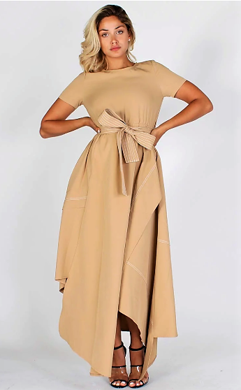 Modestly Retro & Chic Maxi Dress (Tan)