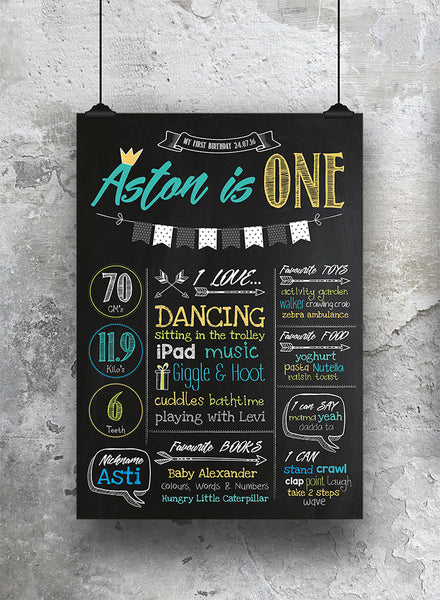 1st Birthday Chalkboard Print Yellow - SO! Collective