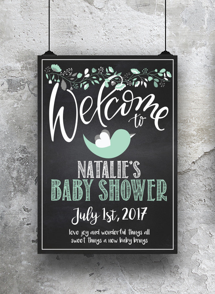 Baby Shower Welcome Print - Mint - SO! Collective