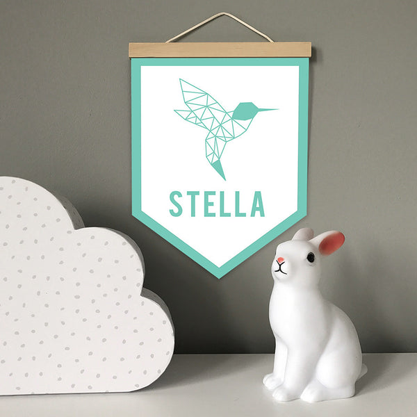 Kids Wall Banner_Geometric Hummingbird Outline with personalised name_colours and details customisable