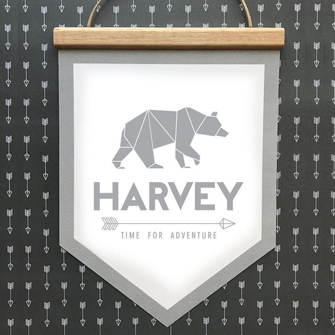 Bear Banner Grey Block