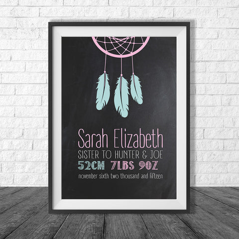 Birth Print Chalkboard Boho Style Dreamcatcher - Name and birth details - all colours and details custamisable