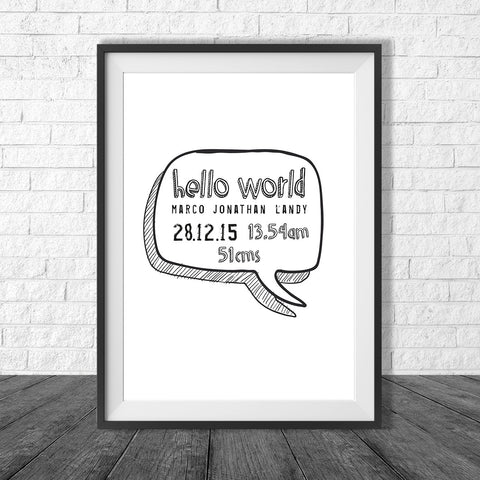 Birth Print Speech Bubble Style - Name and birth details - all colours and details customisable