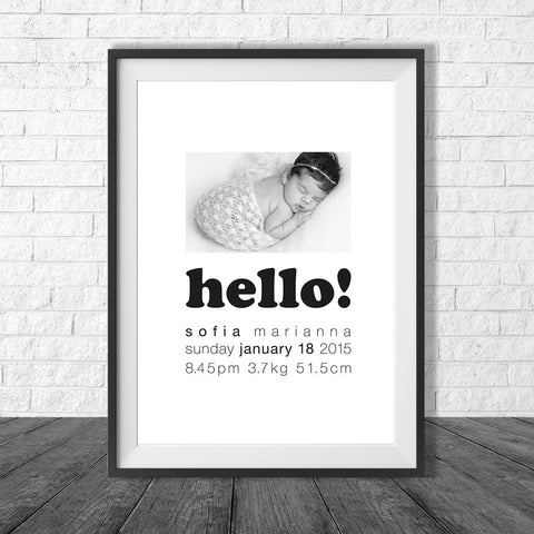 Birth Print with personal photo and birth details - all colours and details customisable